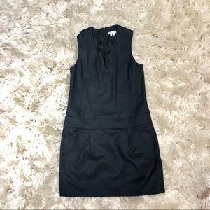 Vince   Wool Black Vneck Jumper Art Mini Dress